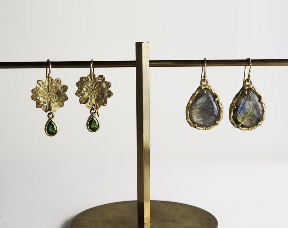 20Kt Diamond Flower, Green Tourmaline Drop Earrings, 20K Branch Labradorite Drop Earrings