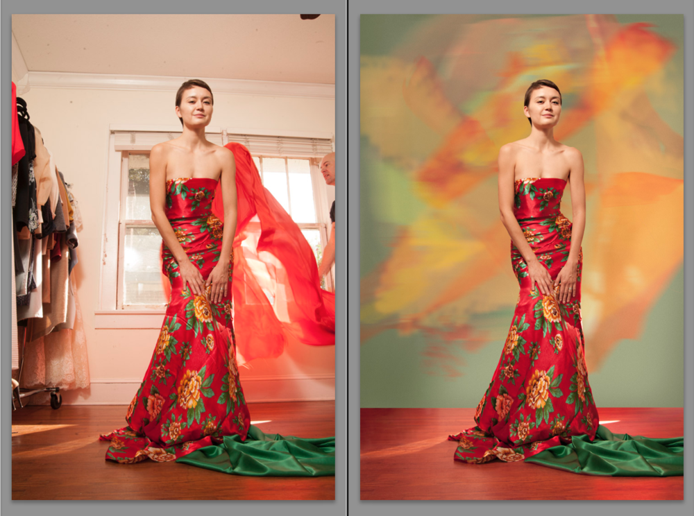 The throwing of the silk behind Alexandra was used to create the orange and yellow background elements in the final image.