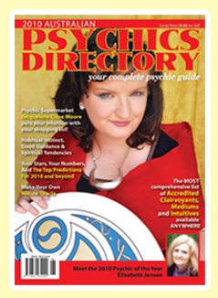 Elisabeth was voted 2010  Australian Psychic of The Year Click here to read more about this prestigious award by the  Australian Psychics Association  www.psychicdirectory.com.au.