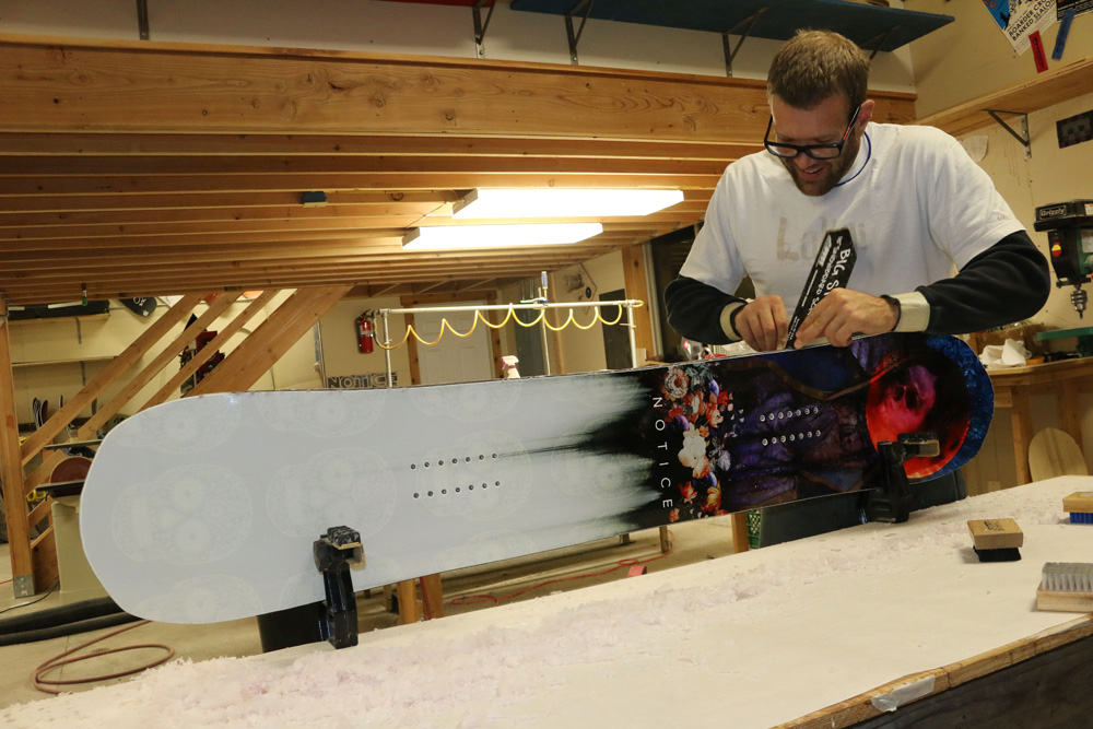 Lead Shaper Brittan Ellingson building a board