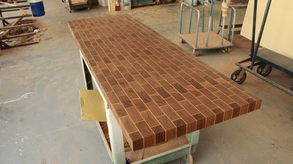 We Like His Massive Brickwork Counter Top And End Grain American Flag  Cutting Board That Features Purple Heart And Padouk ...