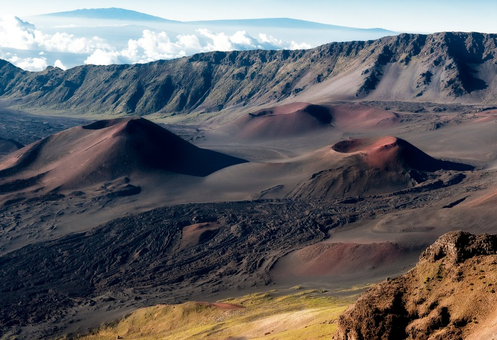 Left: Haleakala Crater located on the island of Maui.