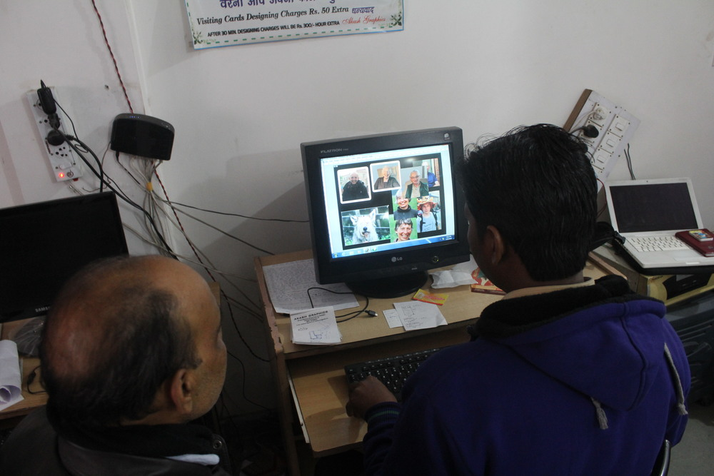 In the design studio, designing the banner