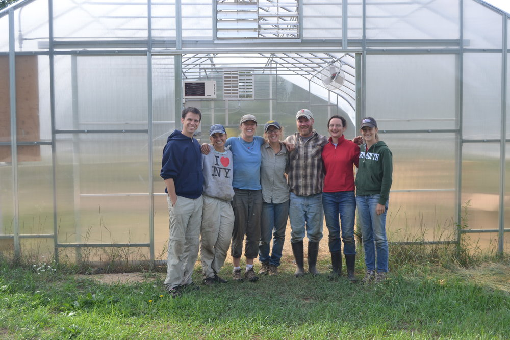 Farm crew from left Micah, Wyatt, Lise, Melissa, Ethan, Rebecca, and Erica