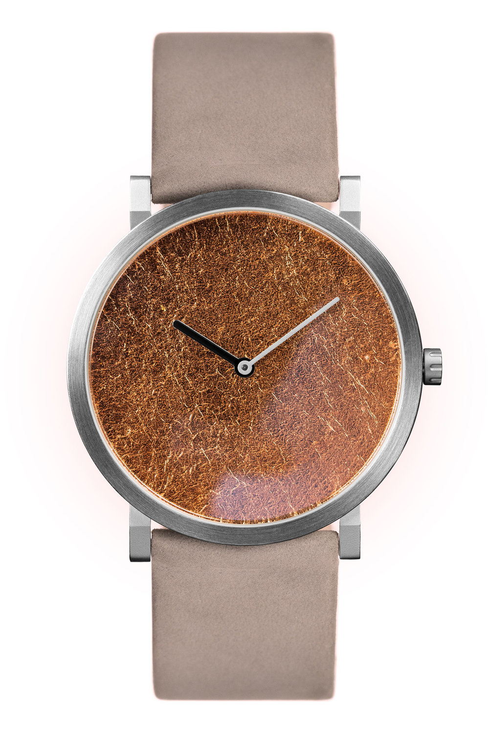 Copper Leaf with Grey Leather Strap