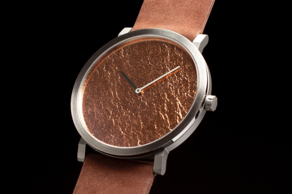 Hand-applied Precious metal leaf - The structure of each dial will be slightly different and unique due to the characteristics of the precious metal. Available in Gold leaf, Silver Leaf, Copper leaf & Palladium leaf finishes.