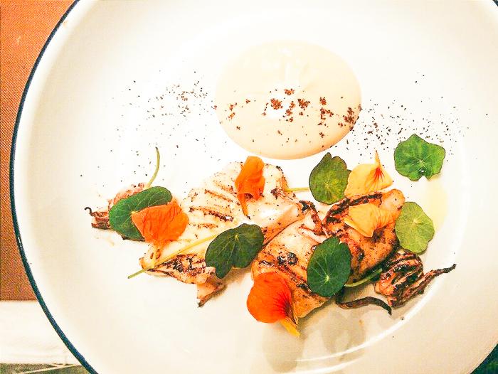 Grilled octopus, caramelised yoghurt, nasturtiums, sumac