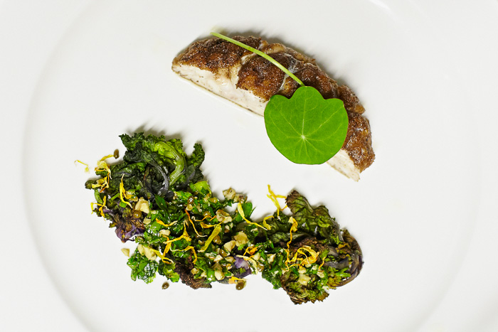 Fried calf brain with brassica salsa, preserved elderberries, walnuts, nasturtiums and marigold petals
