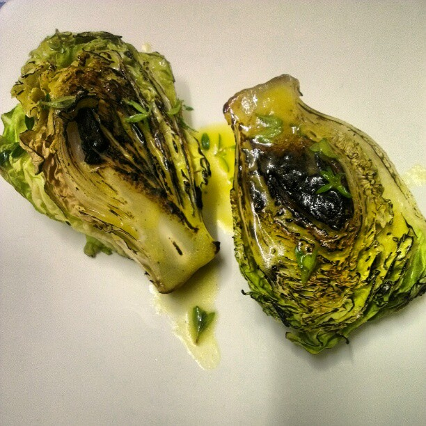 Charred little gems with cider vinegar, mirin, mustard and summer savory
