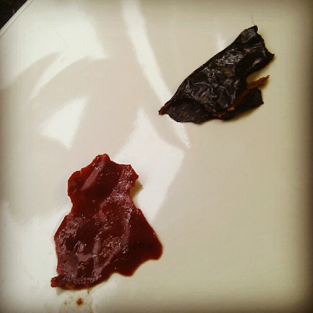 Two shades of Pasilla Chile, dried (dark) and pressure cooked in chicken/hay stock