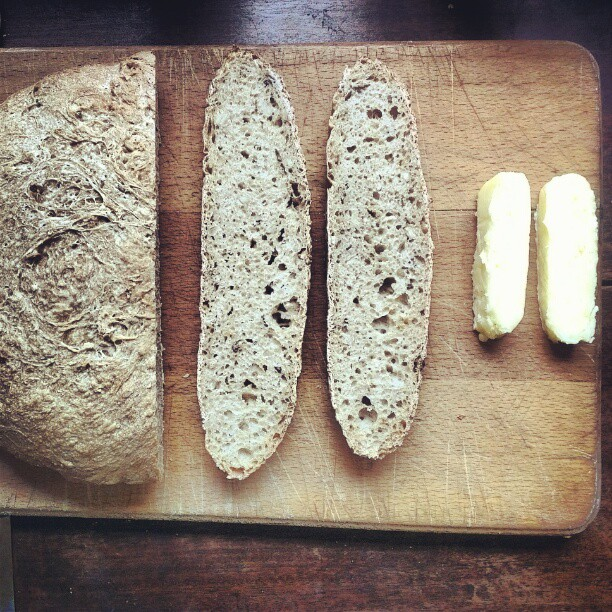 Seeded sourdough with 10 day cultured butter by @blanchandshock