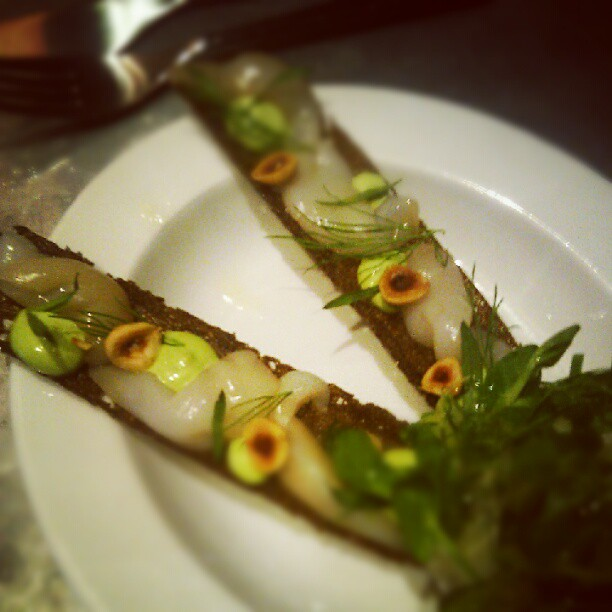 Razor clams, malt bread, hazelnut and herb emulsion at Kødbyens Fiskebar