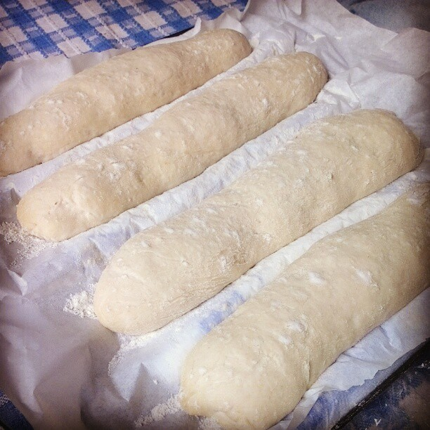 Sourdough baguettes for bahn mi BBQ