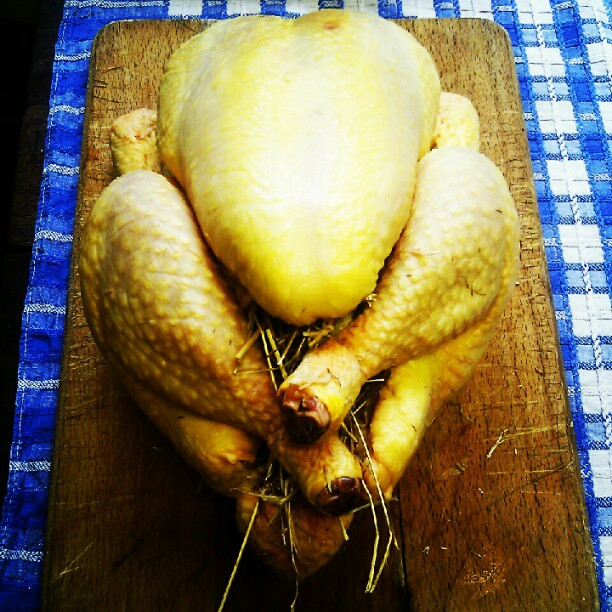 Chicken stuffed with roasted hay.