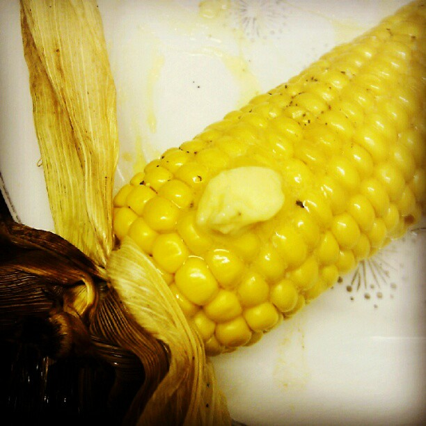 Roasted corn-on-the-cob with 5 day aged raw butter