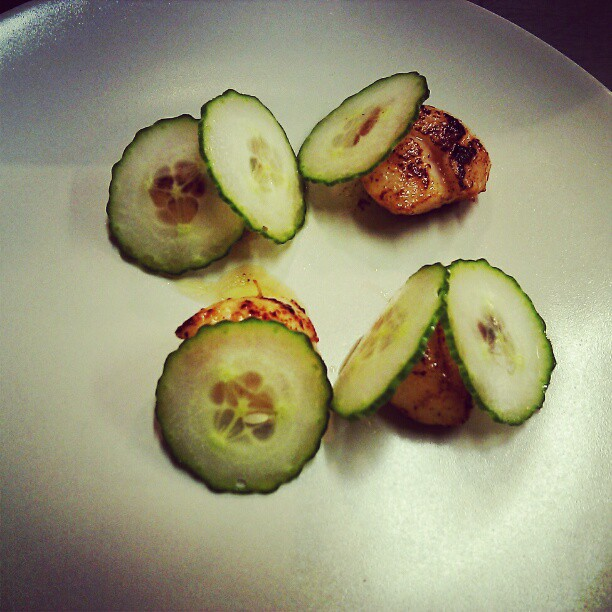 Midnight snack-eating up leftover mise. Scallops fried in hay butter, quick-pickled cukes