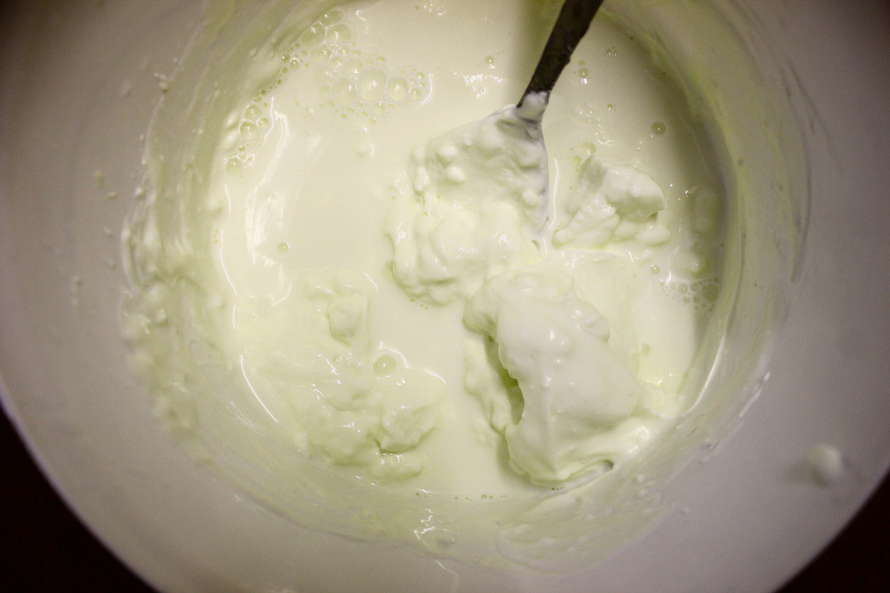 'Backslopping' new yoghurt. Or rather, making a new batch of live yoghurt, using the leftover stained greek yoghurt from whey-gathering (see previous post) topped up with full fat milk and left out