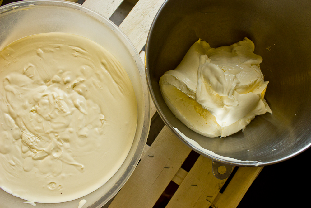 Two cultured creams from two ends of the food production spectrum. On the right, pasteurised double cream from a large scale dairy supplier, cultured with 10% french crème fraîche and left for six days at room temperature (approx 22C). On the left, unpasteurised double cream from Helsett Farm in Cornwall, from a herd of Ayrshire cows, ripened at 4C for four days, and at room temperature for two days. They await whipping to become cultured butter, which I will age in incremental amounts - blurring the line between butter and cheese.