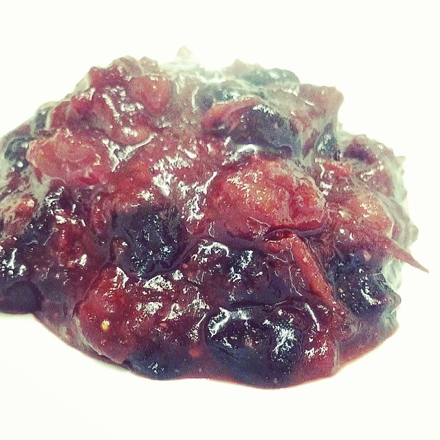 Cranberries, dried blueberries, mulberry vinegar, long pepper, thyme, galbanum tincture