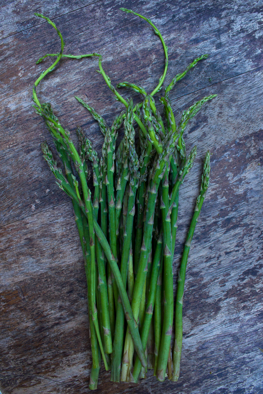 Pencil-thin asparagus from Suffolk, right as the season is about to finish
