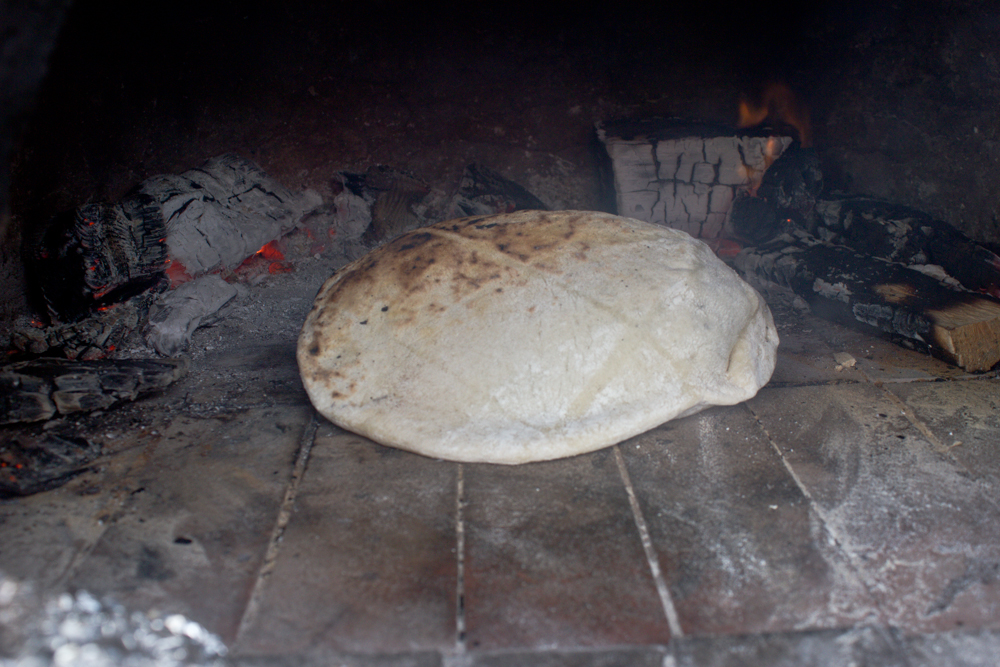 Flatbread in the wood oven