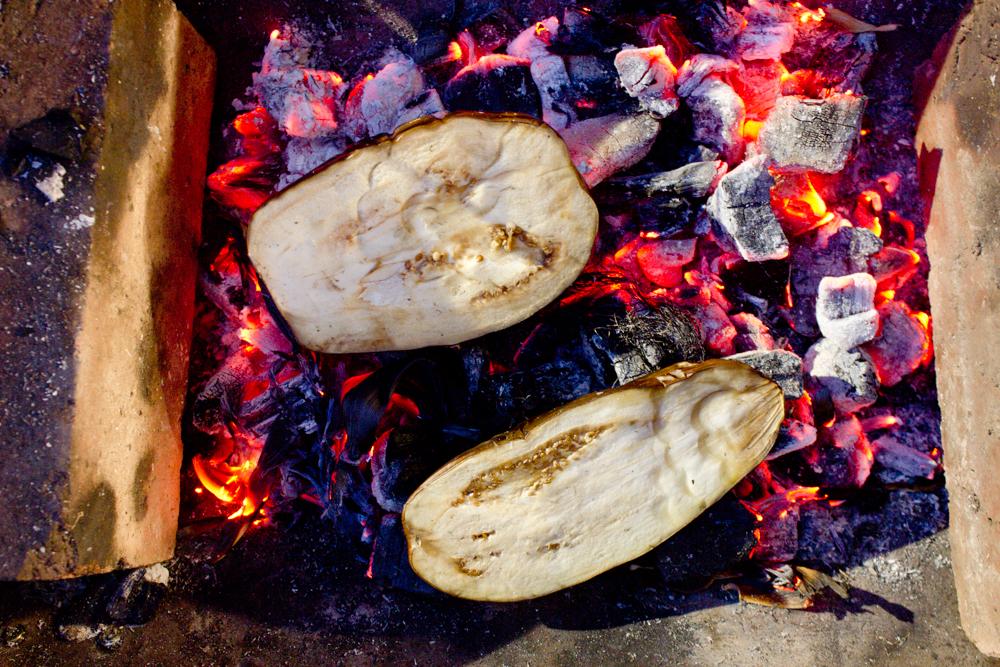 Charring aubergines