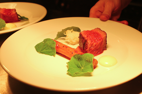 Beef, oyster, nasturtium