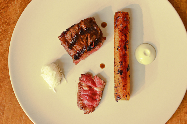 Grilled beef, oyster emulsion, turnips fermented in yoghurt whey, salsify