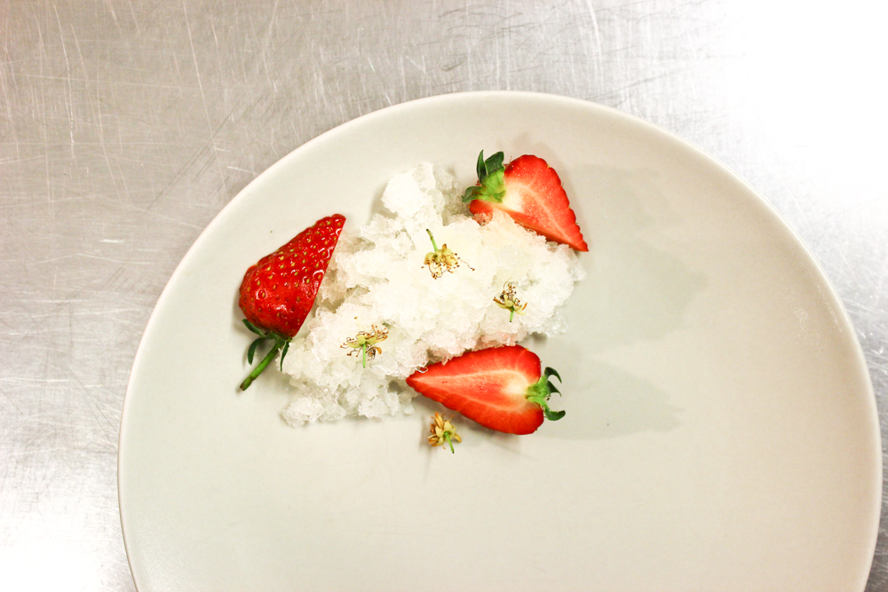 Whey granita, strawberries, lime blossom