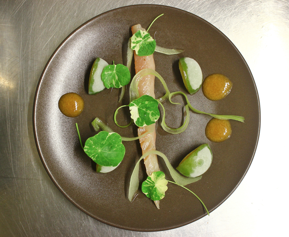 Cured mackerel, greengages, nasturtiums, yoghurt