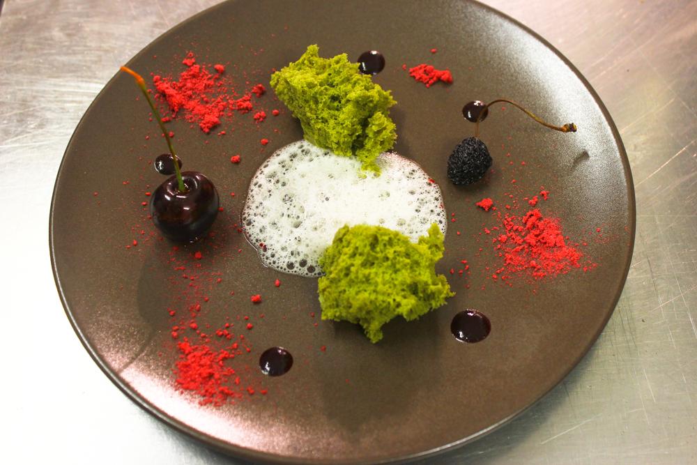 Matcha sponge, cherries, jasmine