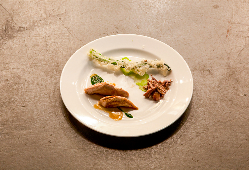 Partridge, brassica tempura, herbs and sorrel, London 2010
