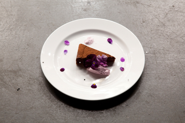 Chocolate and beet torte, violas and viola cream, London 2010