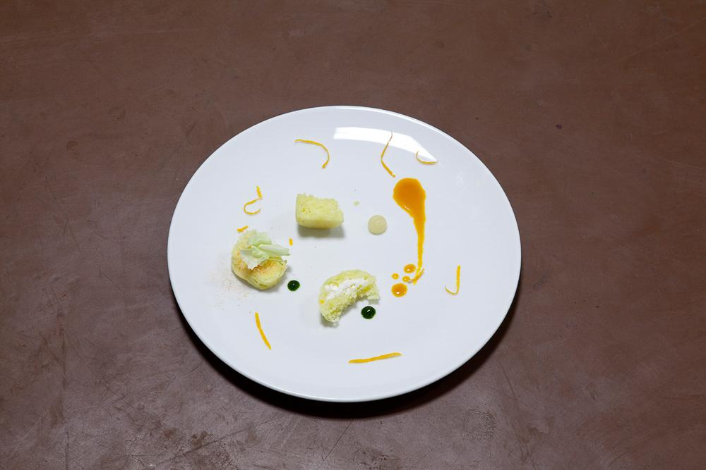 Yoghurt sponge, carrot juice caramel, sea buckthorn, snapdragons