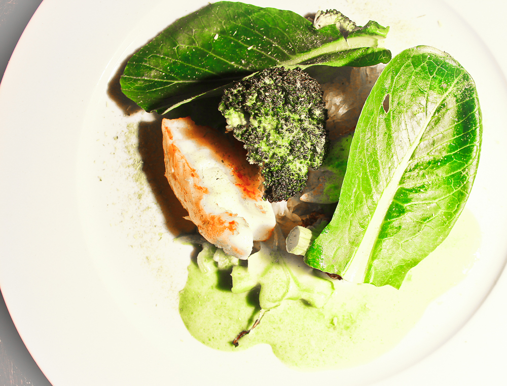 Monkfish, broccoli, turnips cooked in whey, komatsuna leaves, wild garlic, sweet clover, London 2013 (pic by B&S)