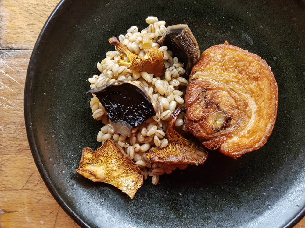 Pork belly, rolled and deep fried. Grains with wild mushrooms