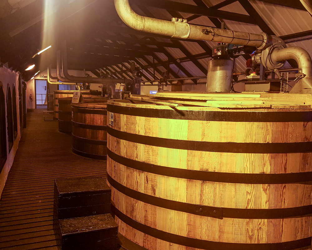 Fermenting tanks named after previous owners of the distillery