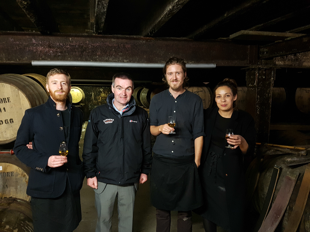 Mike, Josh and Rebecca sampling the goods with David Turner, the Distillery Manager
