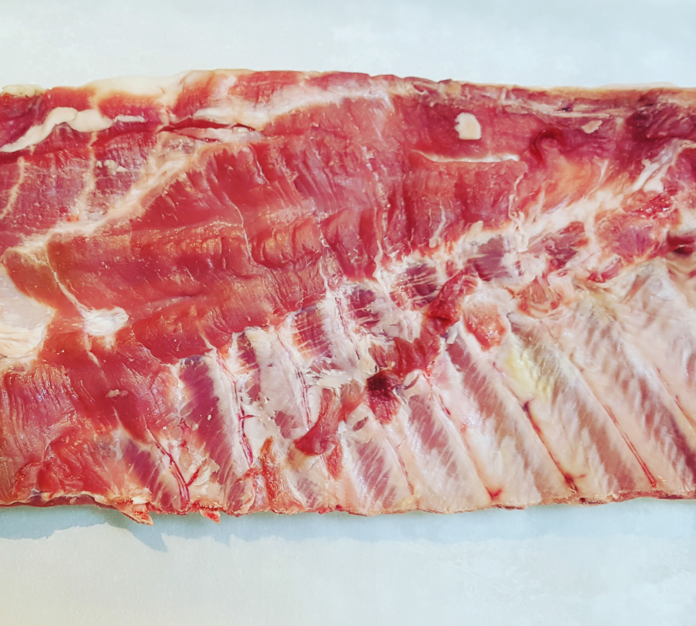 Pannaged pork belly from the New Forest, dry-aged for three weeks by  The Butchery Ltd