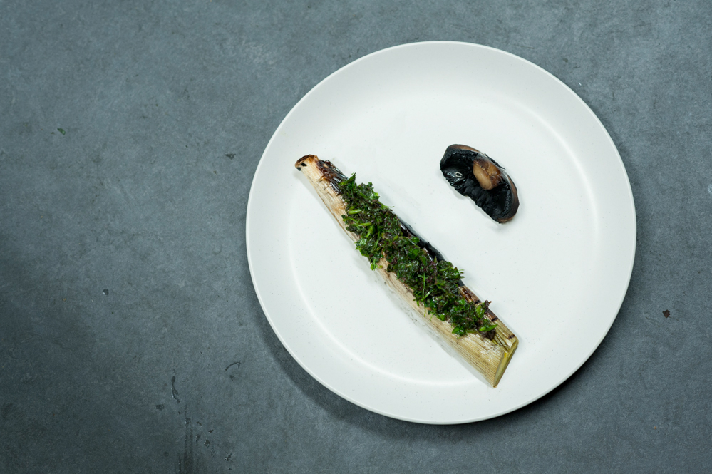 Barbecued leek, roasted mushroom and wild herbs