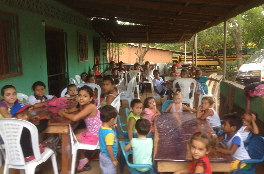 Children awaiting their free meal at the rented kitchen in Tepano, Nicaragua.