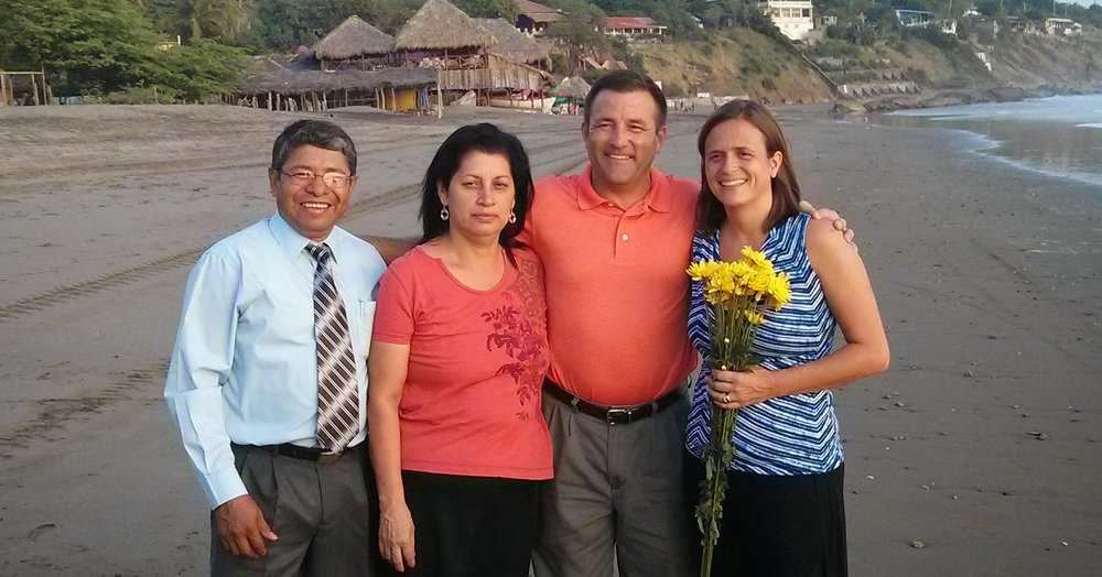 Pastor Luis and his wife Massiel with Global Cross missionary Sarah Broome and her husband Andy.