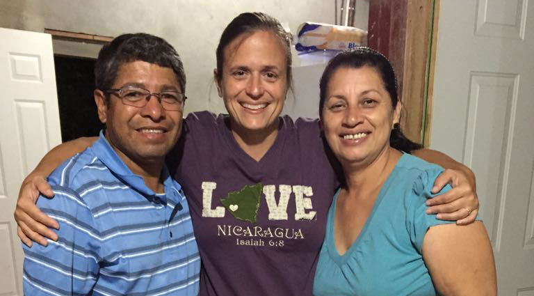 Pastor Luis, missionary Sarah Broome, Pastor's wife Massiel.