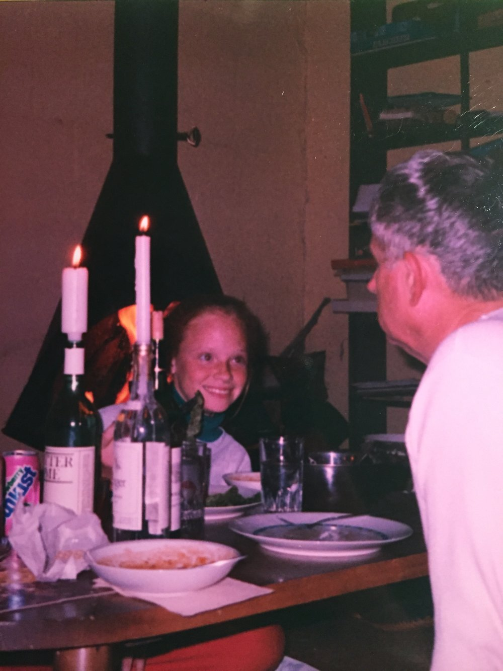 "Dinner by firelight with my Dad at our family ""cabin"" (made of concrete blocks) in North-Eastern Arizona. Boy did I love him. Boy do I miss him."