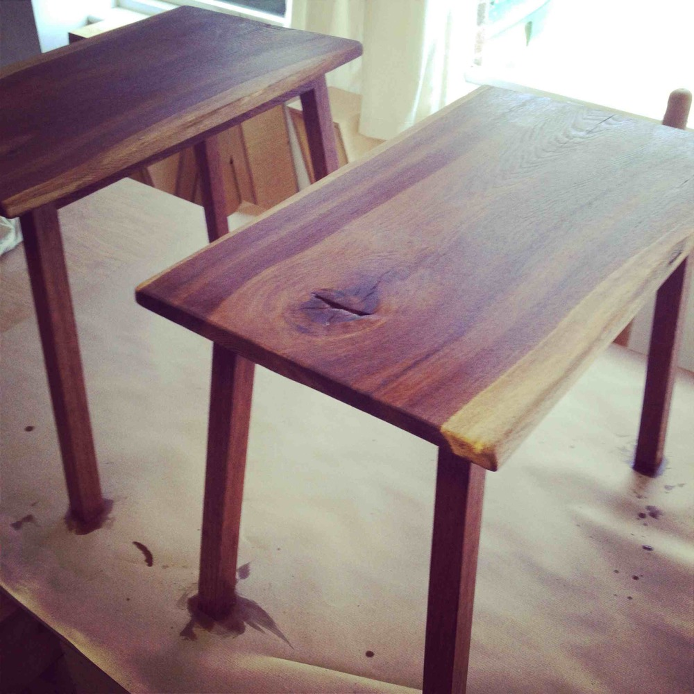English Brown Oak Side Tables