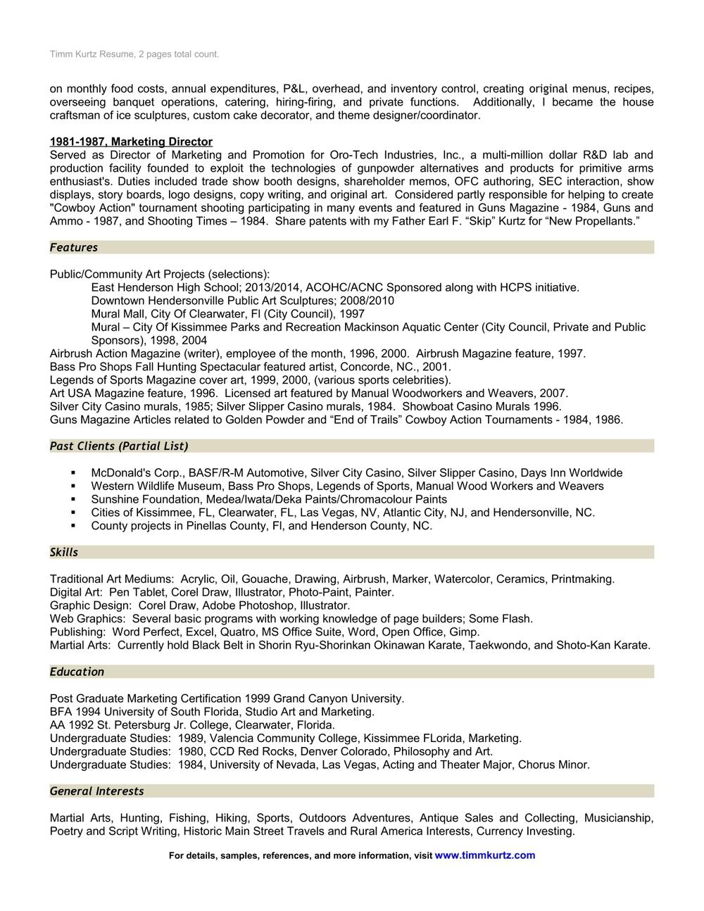 Past Clients and Resume Page of Timm Kurtz Artist. — Timm Kurtz Art