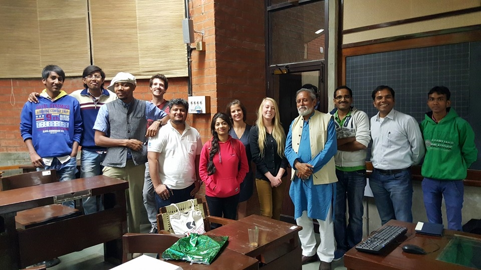 Co-founder Corie Radka (center) stops at the India Innovation Foundation in Ahmedabad to discuss design, technology and art in scaling climate impact during her speaking tour with Columbia University and DJ Spooky.