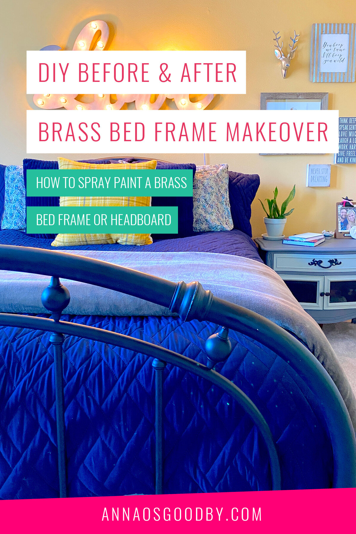 Diy Before And After Brass Bed Frame Makeover Anna Osgoodby Life Biz Seattle Lifestyle Blogger Goals Coach