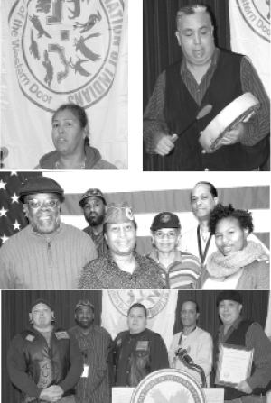 NATIVE AMERICAN HERITAGE MONTH: Pictured from top, (l-R)  Yolanda Smith and Sheldon Sun Down; Middle photo (l-r) Jerry Bowman, Darvin Adams, Debbra Ransom, Veronica Johnson, Paul Kinsey and Kortnie Williams; Above with members of the Redrum Motocycle Club, Davin Smith Paul Kinsey and Sheldon Sun Down.