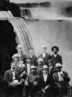 Founders of the Niagara Movement pictured in 1905. The Niagara Movement was a civil rights group organized by W.E.B. DuBois and William Monroe Trotter in 1905.  After being denied admittance to hotels in Buffalo, New York, the group of 29 business owners, teachers, and clergy who comprised the initial meeting gathered at Niagara Falls, from which the group's name derives.